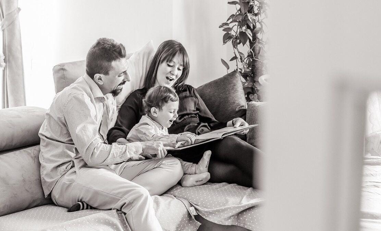 Foto family lifestyle bianco e nero
