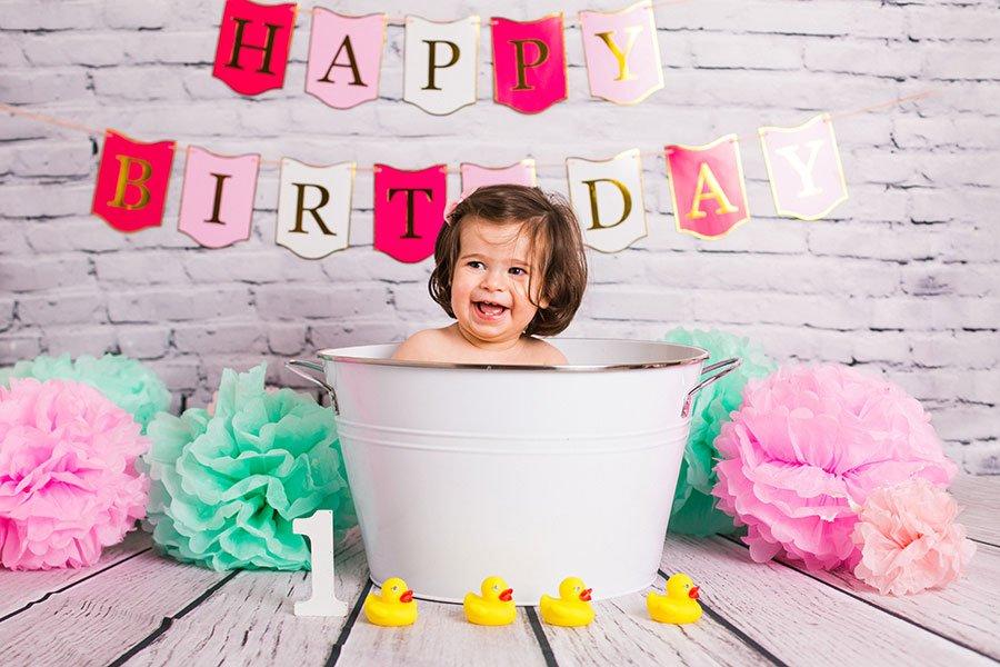 Foto ricordo del primo compleanno: smash cake